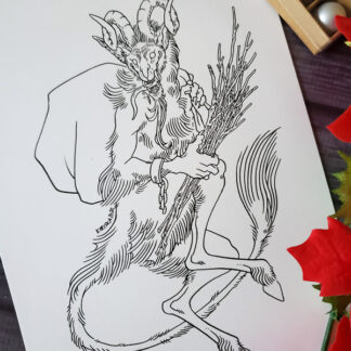Original ink drawing of Krampus by Kiriska