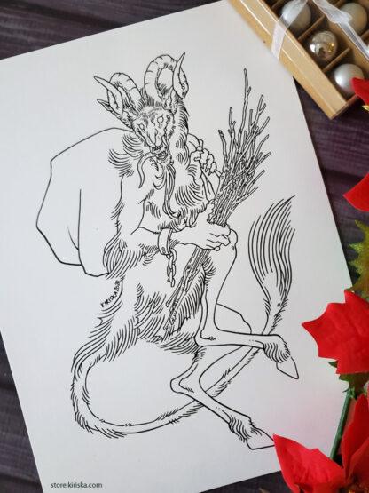 Original ink drawing of Krampus by Kiriska