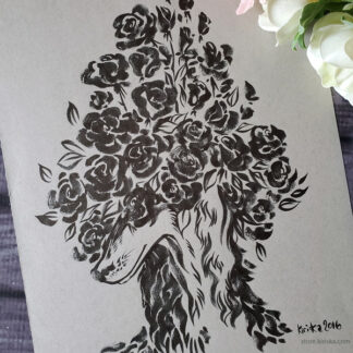 Original ink drawing of a Saluki dog and roses