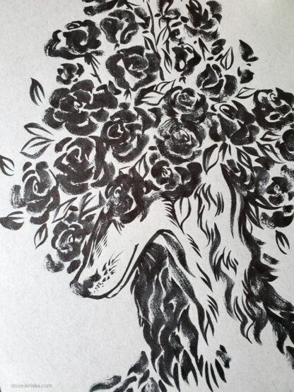 Original ink drawing of a Saluki dog and roses