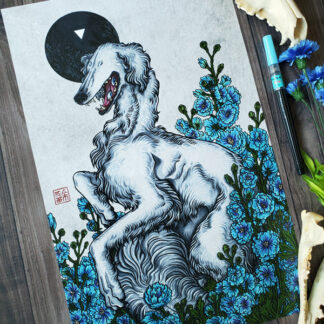 A white borzoi with no eyes on its face but eyes on its tongue among blue delphinium flowers